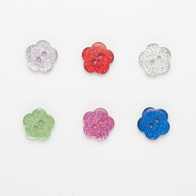 Sparkly Glitter Flower Buttons Sewing Crafts 10mm 11.5mm 15mm 18mm 6 Colours