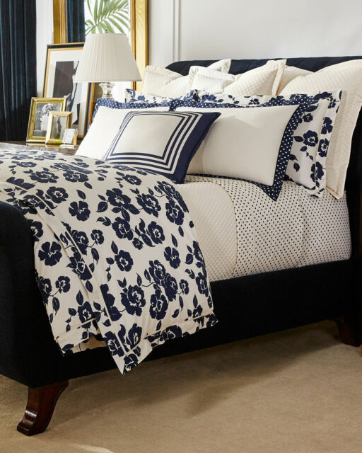 Ralph Lauren Modern Glamour Serena Cream Navy Blue Fl Duvet Cover King