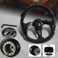 For 1990-2005 Mazda Miata 320mm Black Leather Type-b 6 Hole Steering Wheel+hub