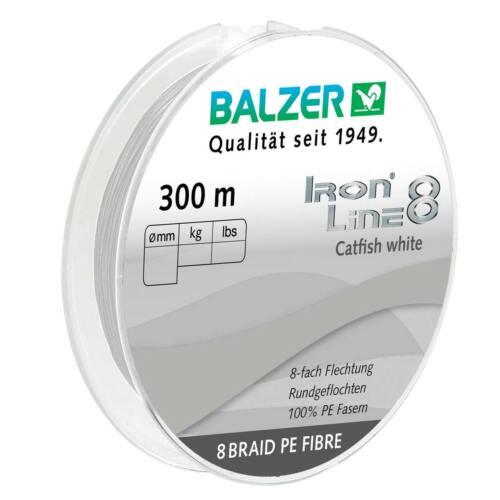 Balzer Iron Line 8 Catfish Wels 300 m Spule geflochte Schnur 0,08 EUR//m