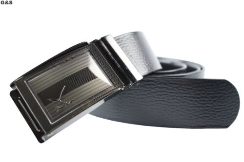 NEW LEATHER LOOK MENS BELT FOR JEANS TROUSERS SUIT SMART COOL BLACK BUCKLE METAL