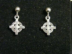 Image Is Loading With Celtic Cross Earrings In Silver 925