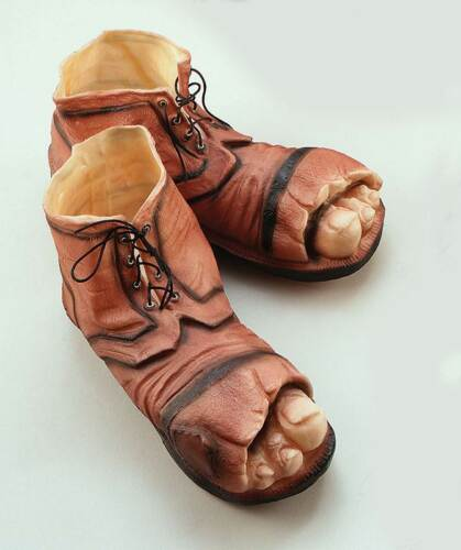 ZOMBIE ONE SIZE SHOES FANCY DRESS ACCESSORY VAGRANT TRAMP BOOTS OLD MAN