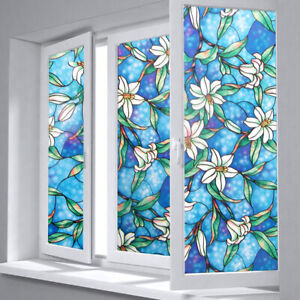 45cm*100cm Blue Orchid Window Film DIY Privacy Protective ...