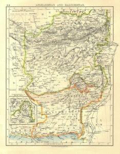 Orderly Afghanistan & Baluchistan Kabul.british Baluchistan pink .pakistan 1906 Map Volume Large