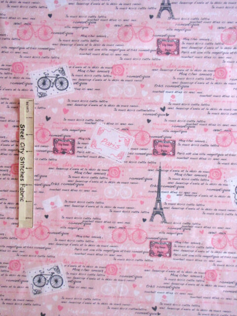 Paris Fabric - Eiffel Tower France French Words C3643 Timeless Treasures - Yard
