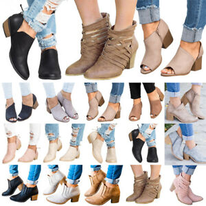 Womens-Mid-Block-Heels-Ankle-Boots-Zipper-Fashion-Low-Shoes-Wedge-Pumps-Size-US
