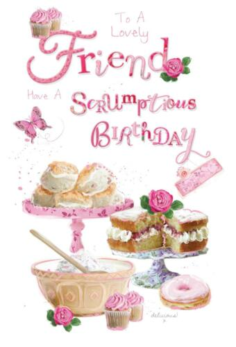 À une charmante amie Cup Cakes Papillon Design Happy Birthday Card Lovely Verset