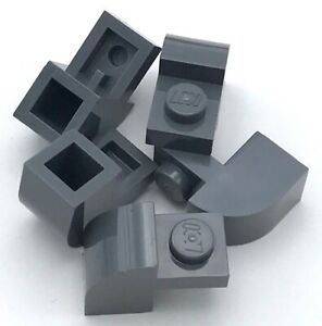 Lego 5 New Dark Bluish Gray Bricks Modified 2 x 2 Curved Top with 2 Top Studs