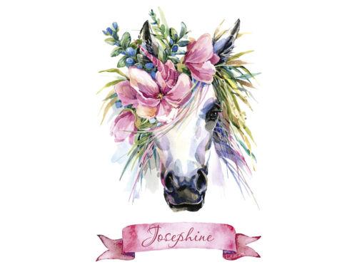 Wandtattoo Pferd Name Einhorn Kinderzimmer Geschenk für Mädchen Personalisiert