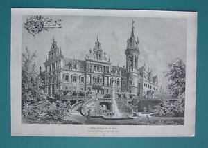 GERMANY-Schkopau-Castle-VICTORIAN-Antique-Print