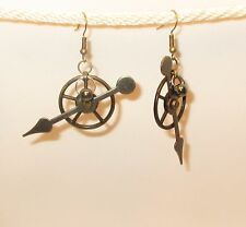BIG STEAMPUNK GEARS EARRINGS Antiqued Bronze with Moving Clock Arrow Dangle