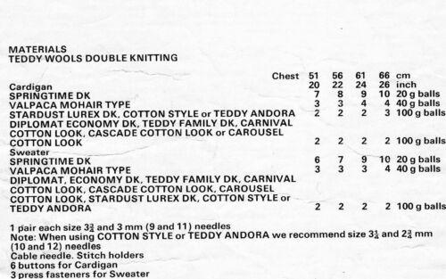 "R2020 GIRL//BOY DK CABLE SWEATER /& CARDIGAN 20-26/"" VINTAGE KNITTING PATTERN"