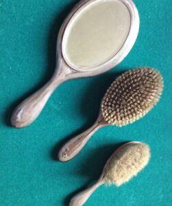 Set Spazzola Specchio.Dettagli Su Toilette Set In Argento Specchio 2 Spazzole Forbici Vasetto Vintage Primi 900