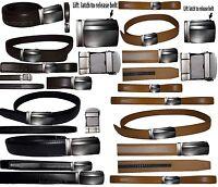 "Real Leather Men's Belt. Automatic lock Dress & Casual belt. Fashion belt up 50"""
