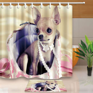 Image Is Loading Funny Dog Chihuahua In Bag Bathroom Fabric Shower