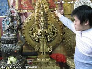 Old Tibet Pure Bronze Copper Gilt 1000 Avalokitesvara Kwan-Yin GuanYin Statue