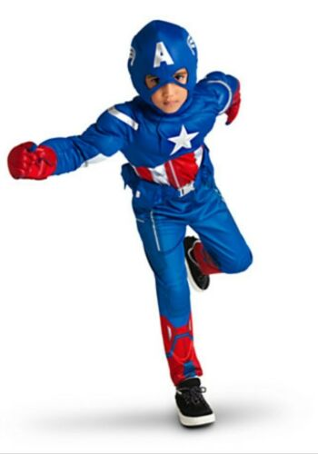 Disney Marvel Captain America Muscle Deluxe Costume ages 4 5-6 7-8 10 New Childs