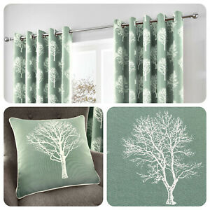 Fusion-WOODLAND-TREES-Duck-Egg-Blue-100-Cotton-Eyelet-Ring-Curtains-Cushions