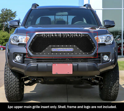 APS Compatible with 2012-2015 Tacoma Main Upper Stainless Steel Black Laser Cut Mesh with Stud Rivets /& LED Grille Insert TL6971L