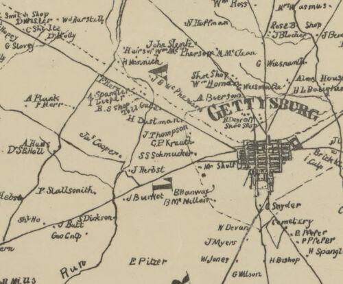 1858 Map of Adams County Pennsylvania Gettysburg Farm Names