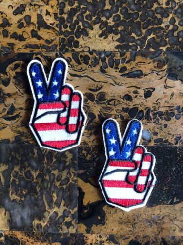 """2 Peace in the USA American Flag America Iron On Sew On Patch 2.5/"""" L x 1.5/"""" W"""