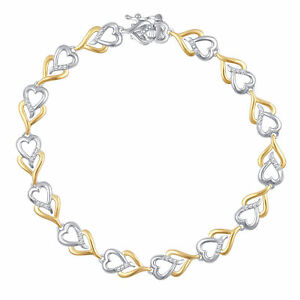 Two-Tone-Gold-Plated-Brass-Fashion-Heart-Bracelet-with-Diamonds-and-Accents