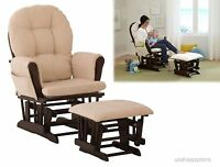 Nursery Furniture Glider And Ottoman Set Baby Relax Rocker Rocking Chair Seating