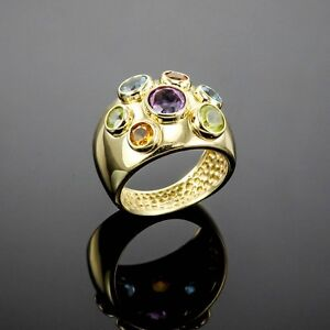 HIGH-END-AMETHYST-CITRINE-PERIDOT-BLUE-TOPAZ-GEM-RING-14K-SOLID-YELLOW-GOLD-US7