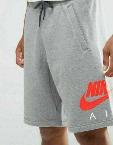 New Mens Nike Fleece Shorts Jogging Summer Long Sport Gym Shorts Running Grey