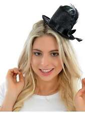 FANCY DRESS MINI BLACK TOP HAT, BURLESQUE FANCY DRESS ACCESSORIES HEN PARTY