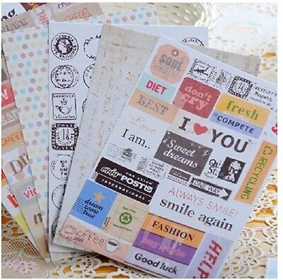 6 sheets Retro  calendar schedule diary note book decorative paper stickers