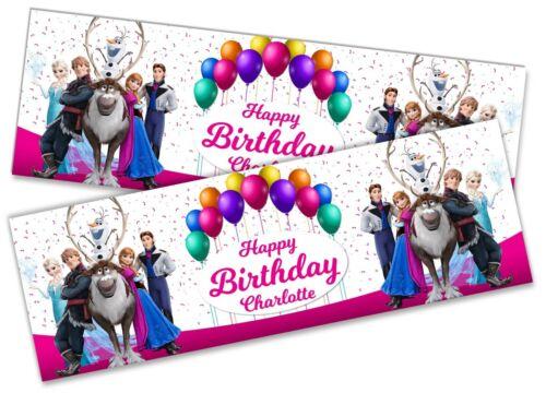 x2 Personalised Birthday Banner Frozen Children Kids Party Decoration Poster 4