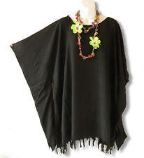 Solid Black Kimono Plus Size Caftan Kaftan Tunic Blouse Top - XL, 1X, 2X & 3X