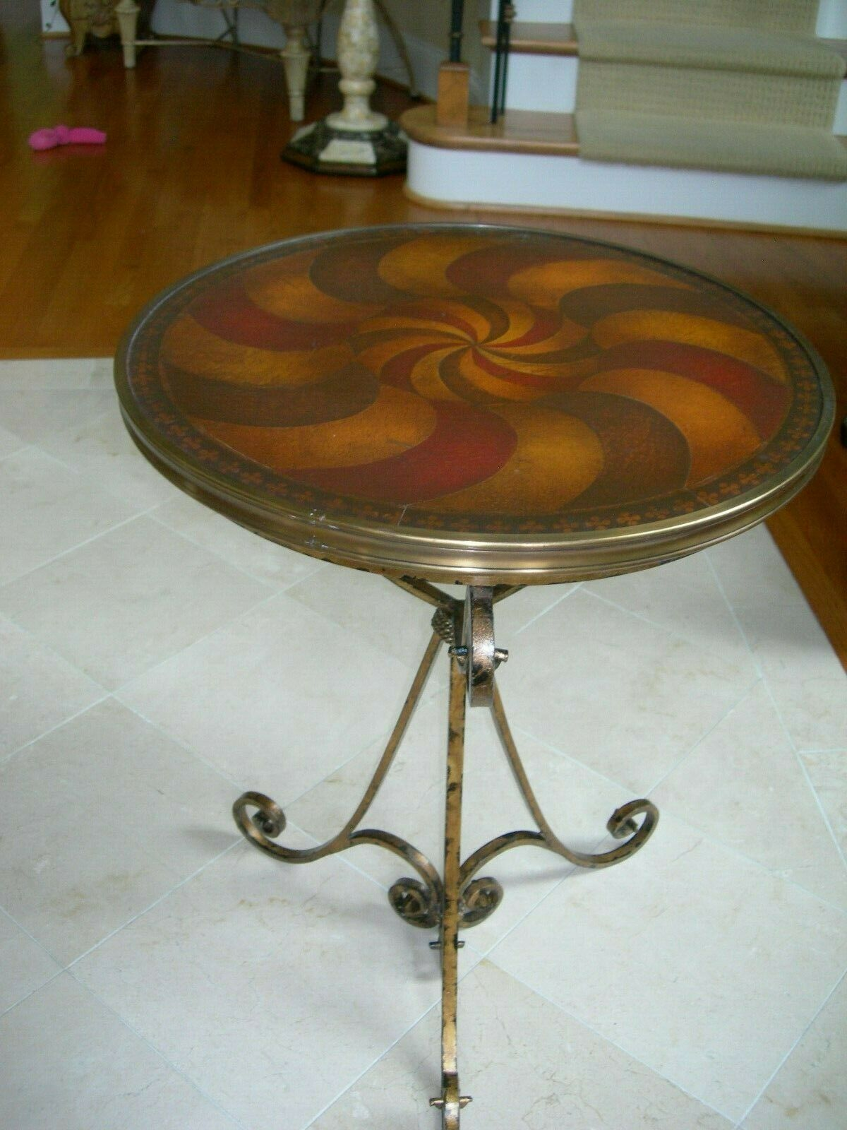 - Theodore Alexander Art Deco Leather Parquetry Gilt Wrought Iron
