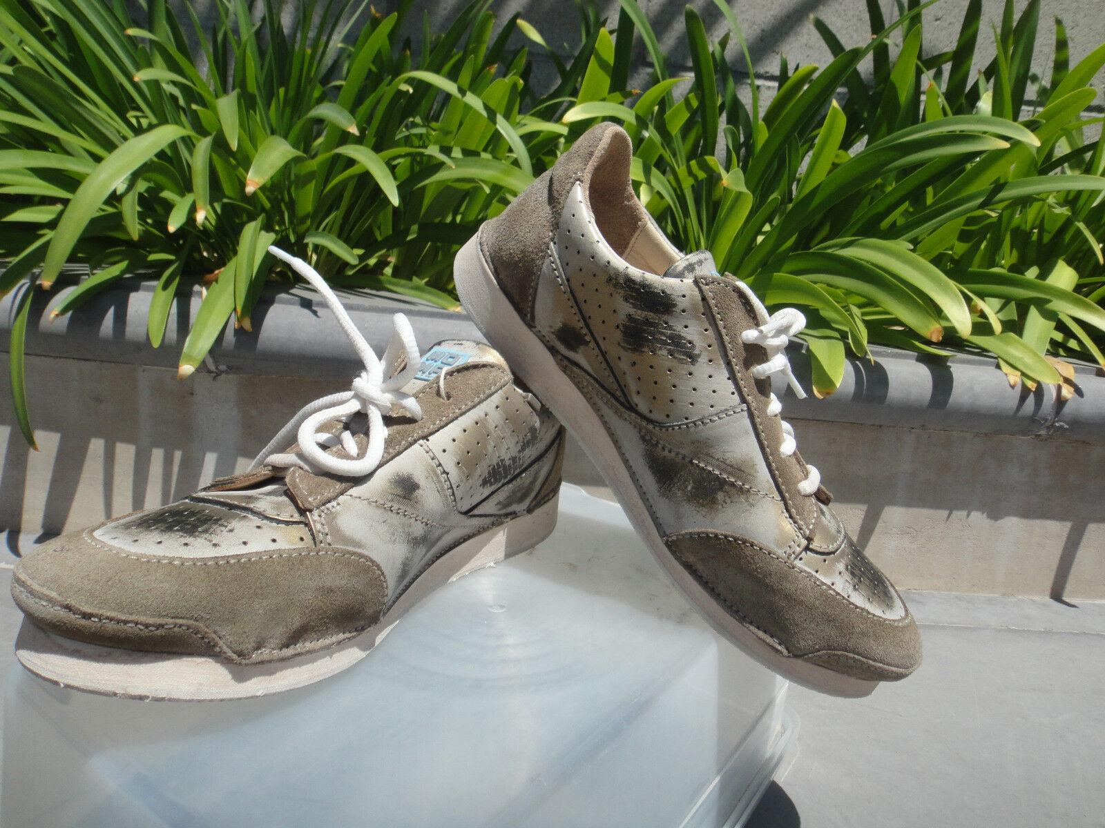 MOMA SOFTY FLINT GLOVF-DB Taupe Gold Bronze Sneakers, Italian Handmade Wmn EUR37