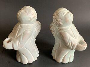 """Vintage Set of 2 - ISABEL BLOOM Cement  - Singing Angels - 5"""" Candleholders"""