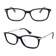 81be93108f8 GUCCI GG 0112OA 001 Shiny Black 53 16 145 Eyeglasses Rx Made Italy New