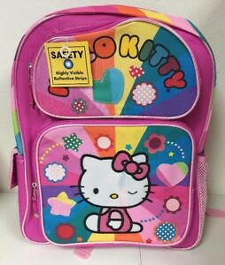 300ddf40a3 Image is loading Girl-039-s-Backpack-Hello-Kitty-Pink-Rainbow-