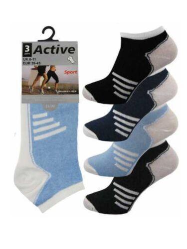 12 da Uomo a Righe Assortiti Attivo Sport cotone ricco Trainer calzini Liner UK 6-11