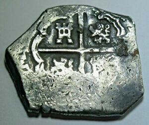1600s-Spanish-Silver-2-Reales-Shipwreck-Piece-of-8-Real-Pirate-Treasure-Cob-Coin