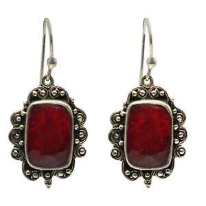 925-Sterling-Silver-Ruby-Gemstone-Earrings-7-85-gm-Jewelry-CCI