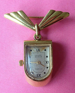 Intelligent Ancienne Montre Et Broche Art Deco Plaque Or Juvenia Berne Suisse