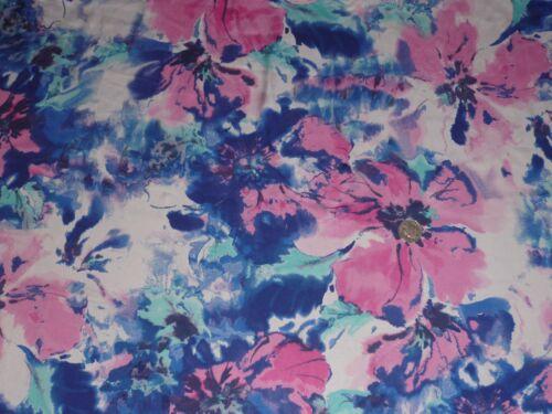 Gran impresión Floral Satén Italiano Blanco//Rosa//Azul Real//Estampado-Vestido Tela Libre P/&P