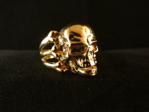 Biker Ring Totenkopf 24 Karat Vergoldet Rock Knochen Skull Edelstahl