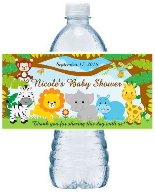 20 Zoo Jungle Safari Baby Shower Favors Water Bottle Labels