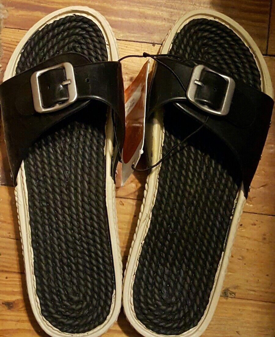 NEW  Womens Summer Comfort Casual slide  Sandals  NEW sz 8-9/ L black c0a3cc