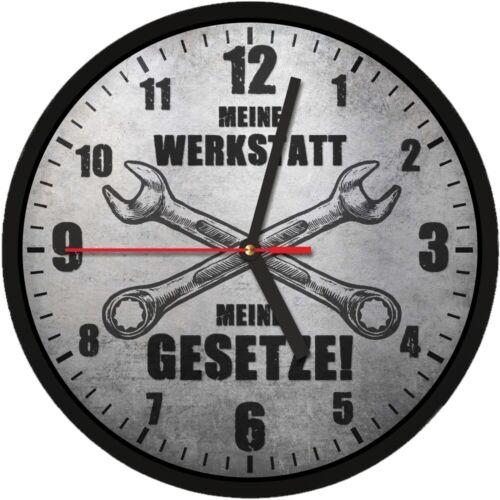 #364 Wanduhr » MEINE WERKSTATT MEINE GESETZE «  optional mit lautlosem Uhrwerk
