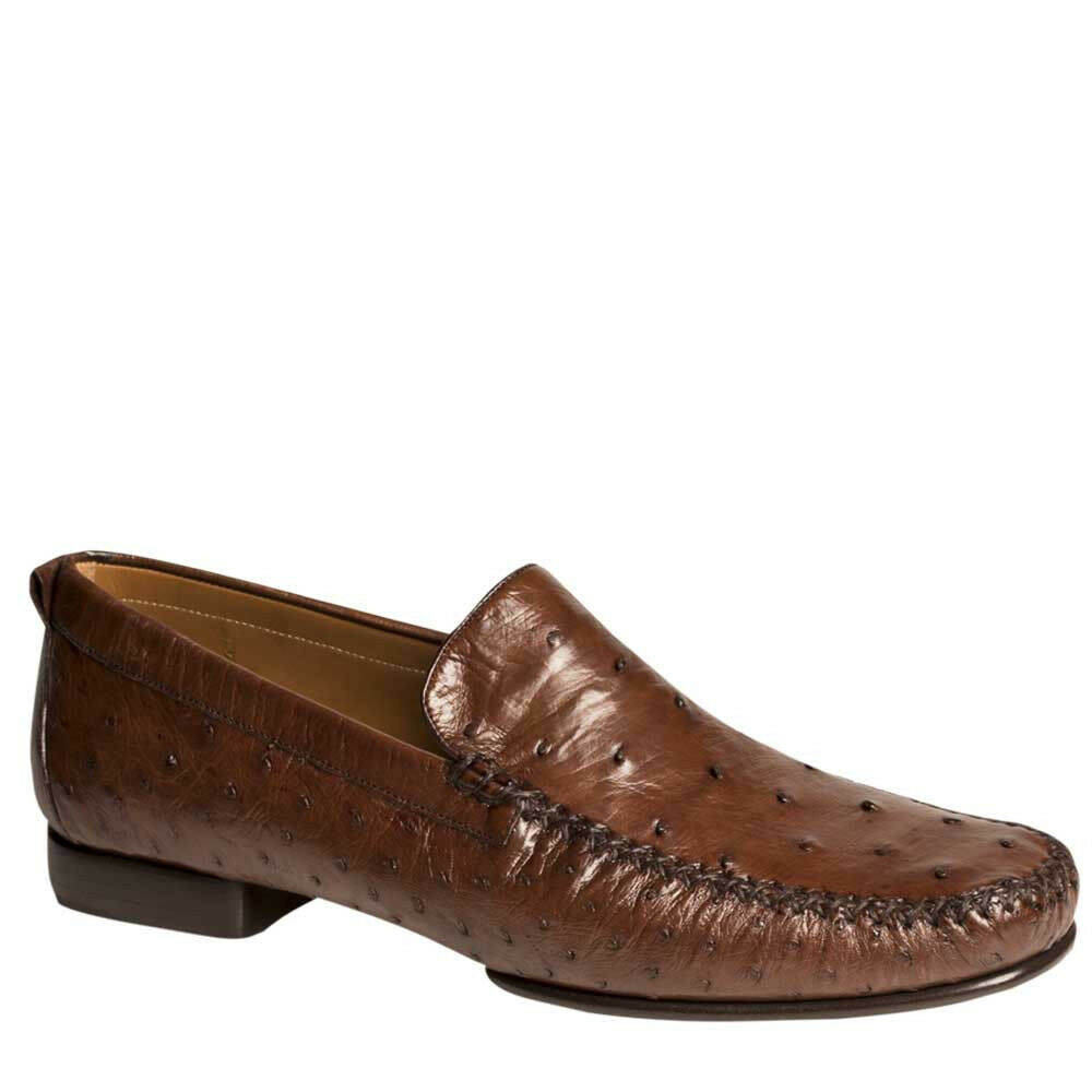 NEW Mezlan Genuine Ostrich Ostrich Ostrich Quill Leather Dress SlipOn Loafer schuhe Rollini braun ad5d84