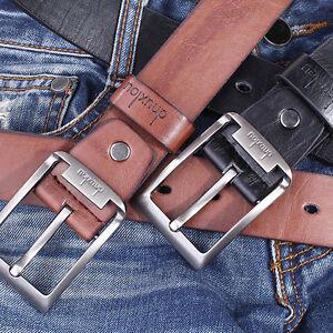 Herren-Lederguertel-Vollrindleder-LEDER-Dornschliesse-Belt-Sehr-stabil-Mode